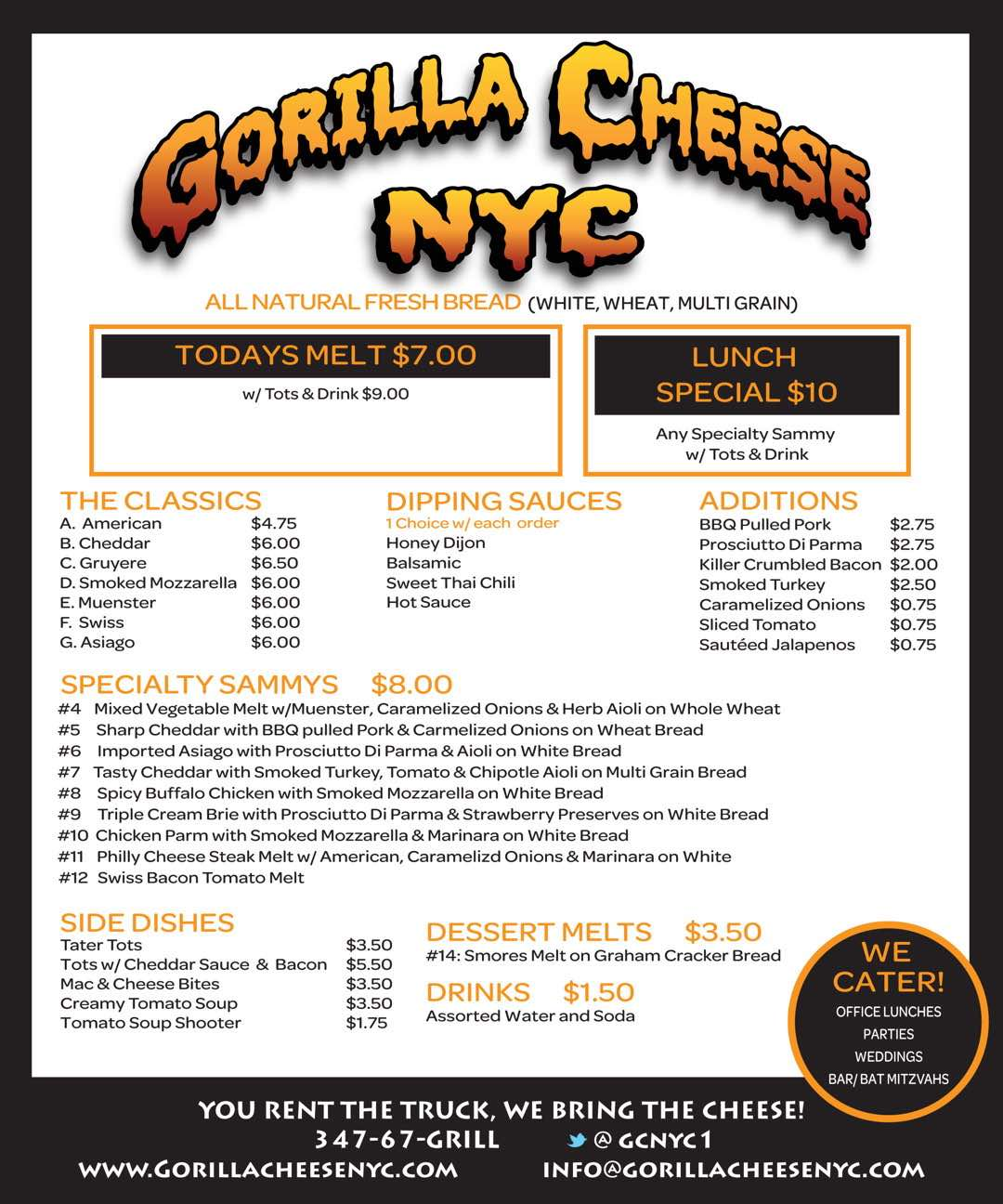 Gorilla Cheese Menu
